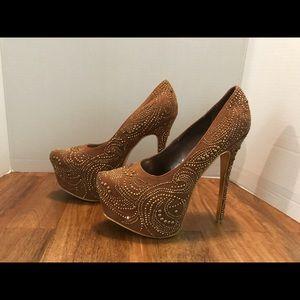 Alba Brown w/ Gold Rhinestones Platform Heels